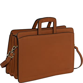 20f0a216051a Jack Georges Belting Collection Triple Gusset Top Zip Briefcase (Tan)