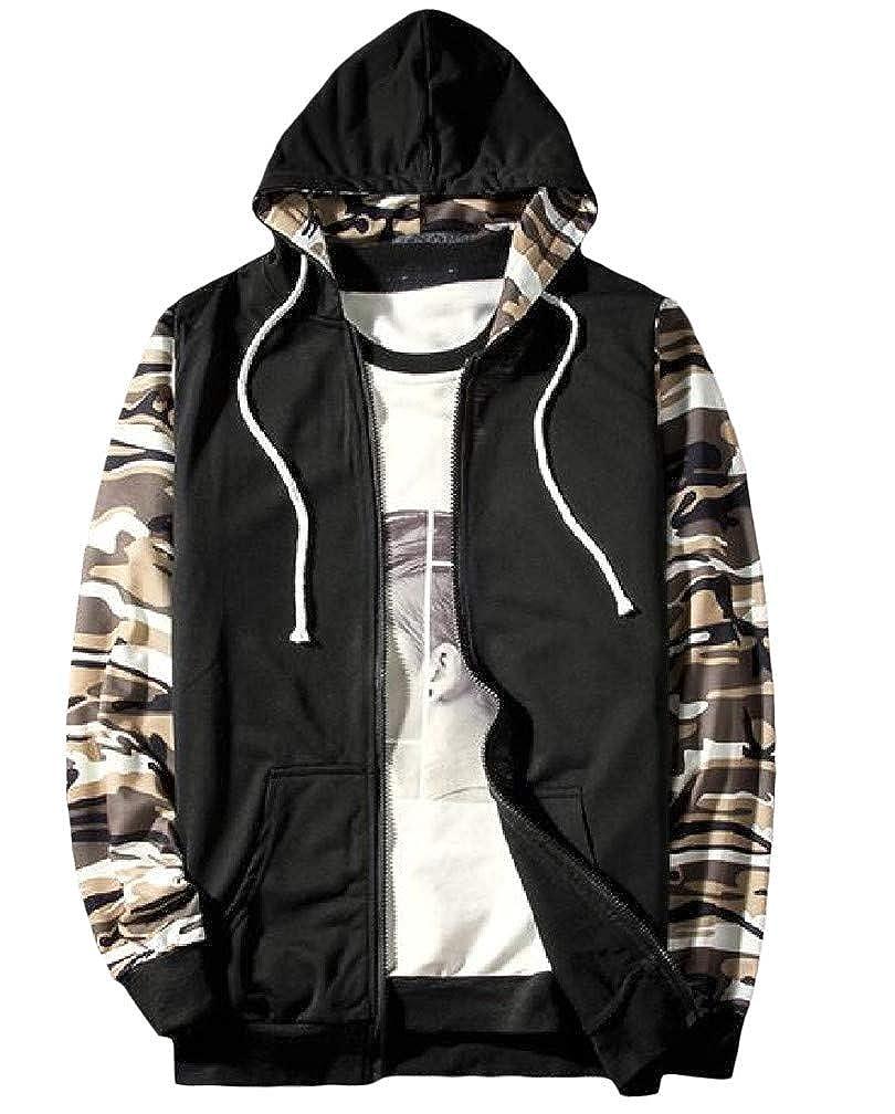 Macondoo Mens Cargo Zip Pocket Drawstring Running Raglan Sleeve Coat Hooded Sweatshirts