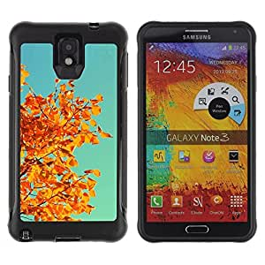 Suave TPU Caso Carcasa de Caucho Funda para Samsung Note 3 / Autumn Yellow Orange Leaves Tree Branch / STRONG