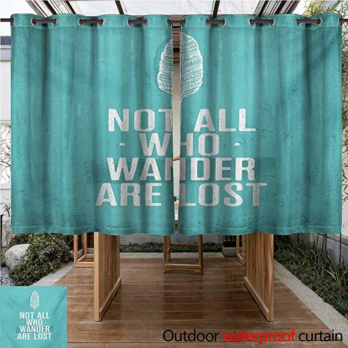 Amazon.com : WilliamsDecor Adventure Outdoor Curtains for Patio Sheer Not All Who Wander are Lost Words of Wisdom Boho Chic Feather Grunge Look W72 x ...