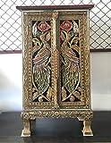 Thai Antique Handmade Furniture Bird Gold and Glass Storage Cabinet/Nightstand, Home Decor, 32''H x 12''W x 17''L. Thailand Work Art By WADSUWAN SHOP.