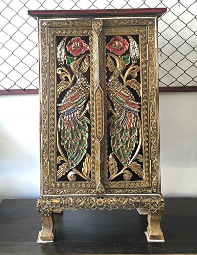 Thai Antique Handmade Furniture Bird Gold and Glass Storage Cabinet/Nightstand, Home Decor, 32''H x 12''W x 17''L. Thailand Work Art By WADSUWAN SHOP. by WADSUWAN SHOP