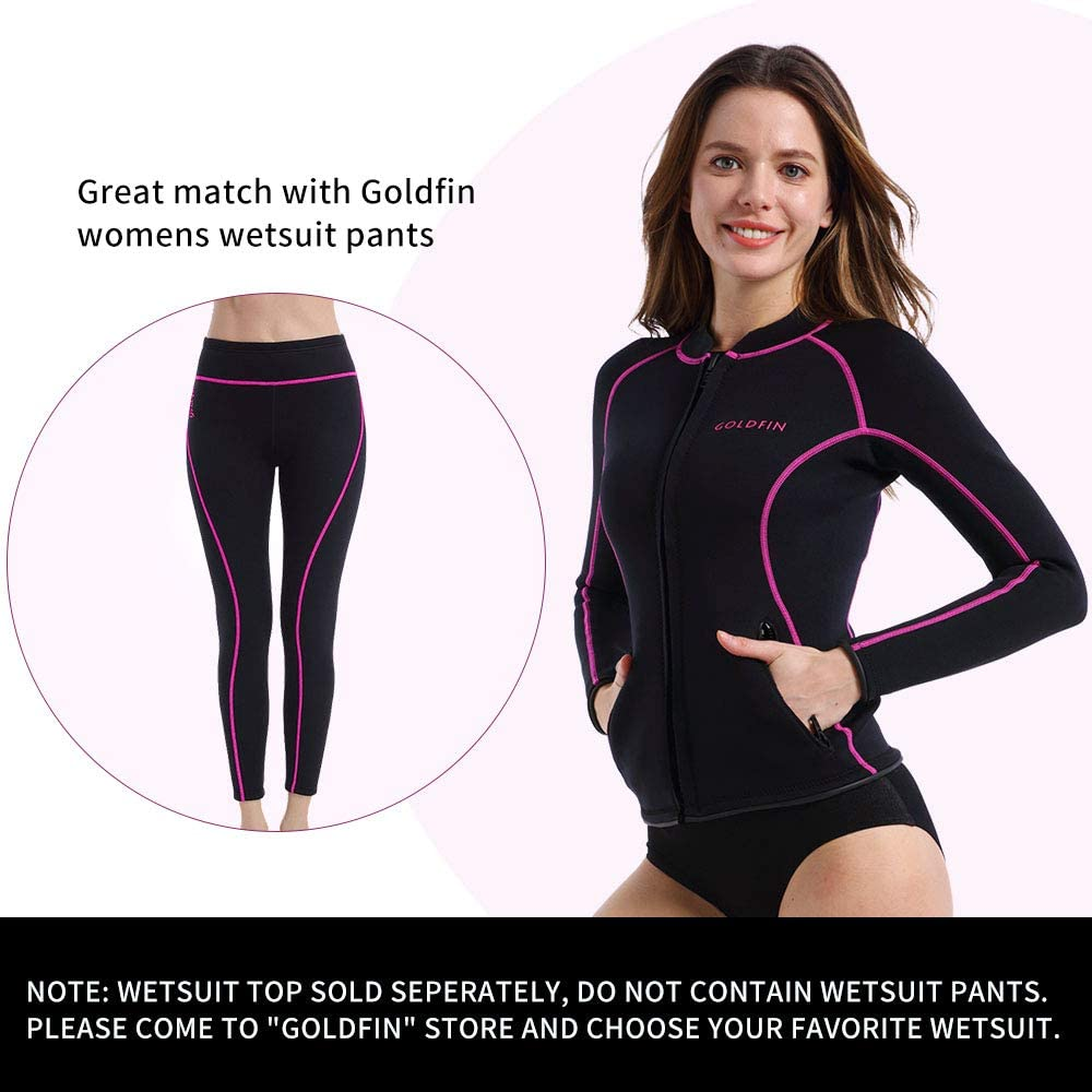GoldFin Womens Wetsuit Top Black, XL 2mm Neoprene Wetsuit Jacket Long Sleeve Front Zip Wetsuit Shirt with 2 Zipper Pockets for Swimming Water Aerobics Diving Snorkeling Surfing Kayaking