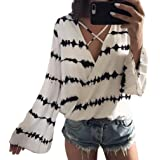 VESNIBA Women's Loose Long Sleeve Printed Tops Chiffon Casual Blouse