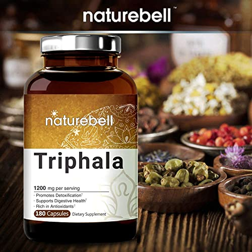 Organic Triphala Supplement Made with Organic Amla, Bibhitaki and Haritaki Fruit Complex , 1200mg Per Serving, 180 Capsules, Powerfully Supports Digestive Health, Weight Loss and Fat Burn