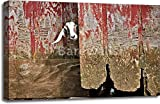 Goat And Old Barn Door Gallery Wrapped Canvas Art (24 in. x 36 in.)