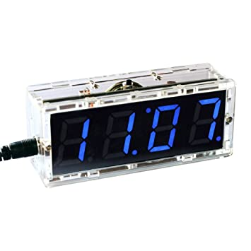 kkmoon compacto digital 4 dígitos LED Talking Clock DIY control de luz Kit Temperatura Fecha Tiempo transparente vitrina: Amazon.es: Electrónica