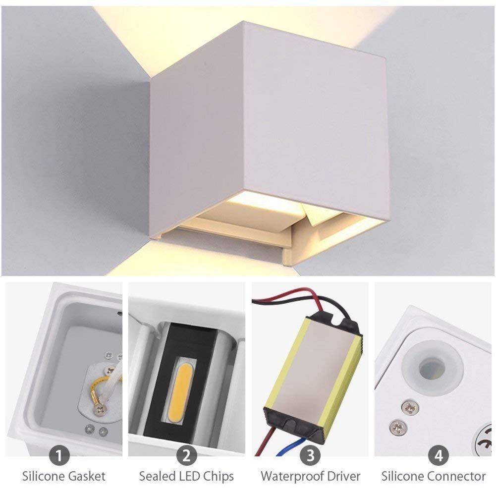 Linterna Luz de Pared Lámparas de pared de de de 10 vatios Interior / exterior Moderno, Lámparas de pared LED de luz de exterior IP65 LED Acristalamiento y downlight, Diseño de ángulo de haz ajustable, Blan 495603