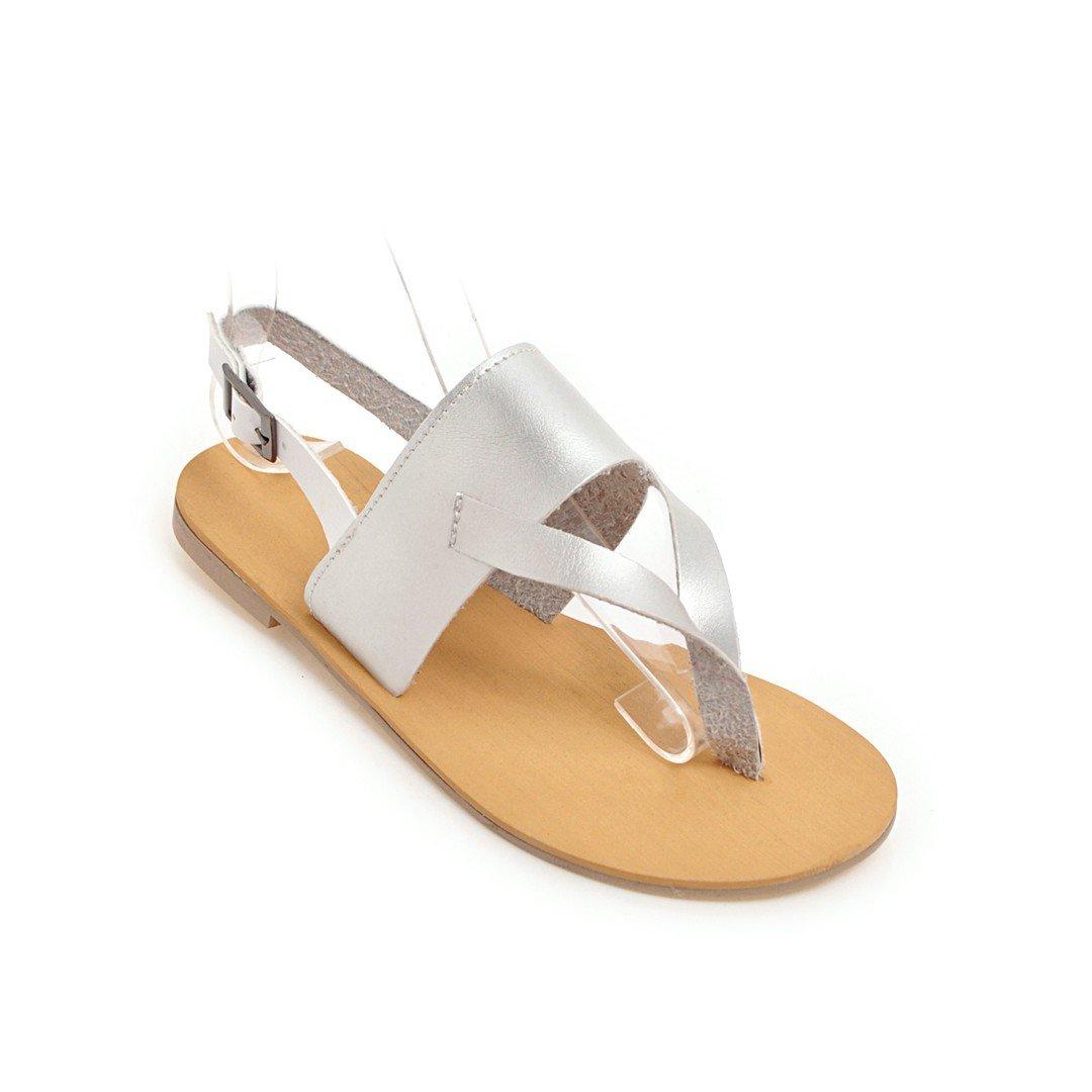 Damen Sommer Sandalen Toe Clip Flach Groß Silber Gürtelschnalle Badeschuhe Silber Groß 43 4ba570
