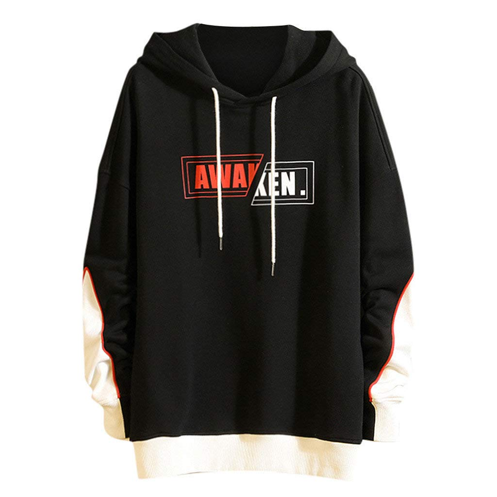 Daopwlkom Men's Long Sleeves Hooded Sweatshirts Youth Hip Pop Casual Letter Print Black White Stitching Pullover Hoodie by Daopwlkom