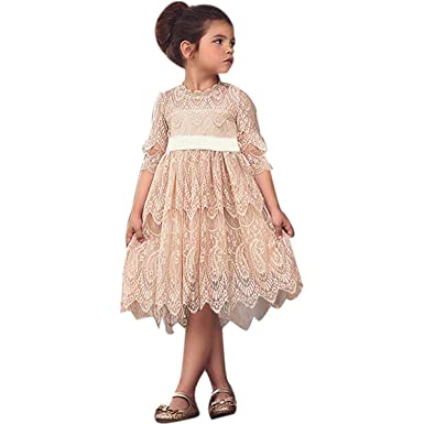 63341aabc8 Girls Christmas Flower Lace Embroidery Dress Kid Princess Vintage Lace Dress  Party Ball Gown Wedding Bridesmaid Dresses  Amazon.co.uk  Clothing