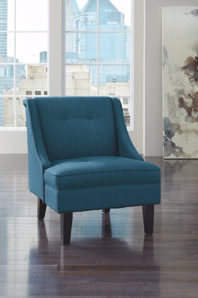 Ashley Furniture Signature Design -Clarinda Accent Chair - Wingback - Modern -  Blue - BLUE ACCENT CHAIR: The clean lines and vibrant hue of this chair mean deep-seated, luxurious comfort that isn't afraid to show off. What a fun, glamorous way to deck out your room in high style PLUSH UPHOLSTERY: This chair is made with 100% polyester for ultimate comfort and support. Exposed feet have a faux wood finish MODERN FLAIR: With tapered legs, a wingback design and subtle tufting, you'll find it's a fashionable fit for any room in your home - living-room-furniture, living-room, accent-chairs - 61XHSSvZtwL -