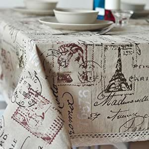 sukisuki Vintage Torre Eiffel Carta impresión lino y algodón Tejido mantel funda para mesa, algodón, lino, One Color, 100cm x 140cm