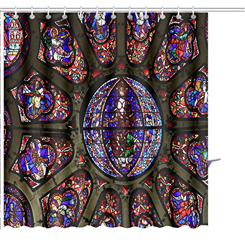 MuaToo Shower Curtain mantes la Jolie France October Stained Glass Window in The Gothic Notre Dame Graphic Print Polyester Fabric Bathroom Decor Sets with Hooks 72 x 96 Inches