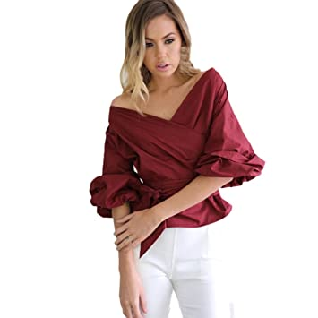 84d2739ad2a8a Women Blouse Daoroka Ladies Sexy V-neck Off Shoulder Long Flared Pleated Sleeve  Bandage Shirts