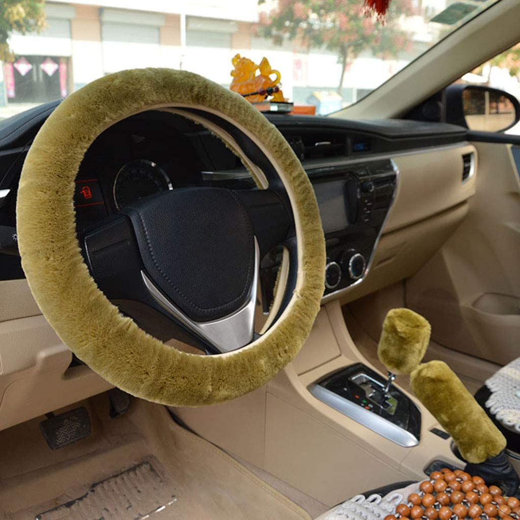 Wine Faux Wool Uinversal Plush Non-Slip Car Interior Accessories BSRYO 3pcs Set Winter Warm Furry Steering Wheel Cover/&Handbrake Cover/&Gear Shift Cover Set