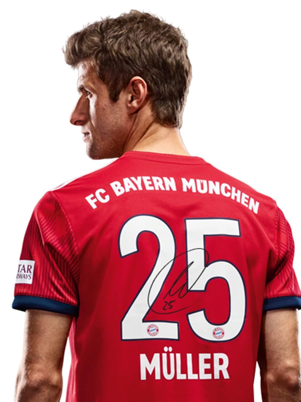 FC Bayern München Trikot Home Kinder, Rückennummer mit Unterschriften Flock, Jersey 18 19