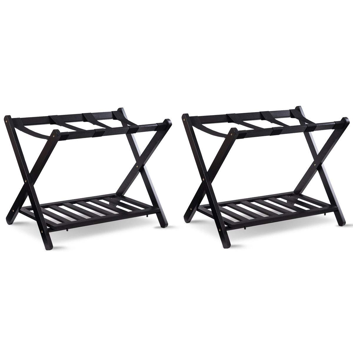 TANGKULA Luggage Rack Folding Wood Suitcase Luggage Stand for Home Bedroom Guestroom Hotel Rooms with Shelf(001 2PCS)
