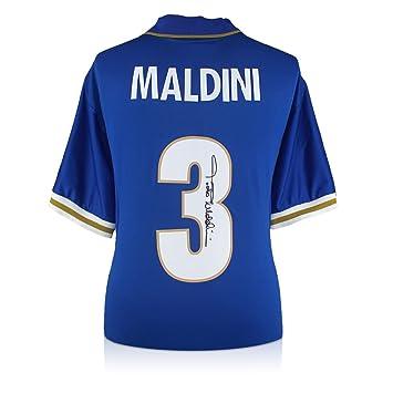 Camiseta de fútbol Italia 1996-97 firmada por Paolo Maldini