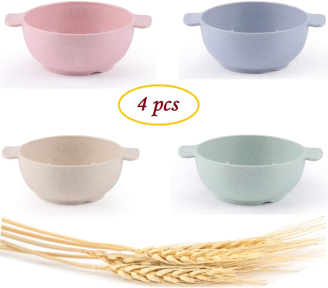 Choary Lightweight & Unbreakable Wheat Straw Bowls for baby child, Set of 4 Dishwasher Microwave Safe bowls, Non Toxic, Eco Friendly & Reusable Snack small bowls.