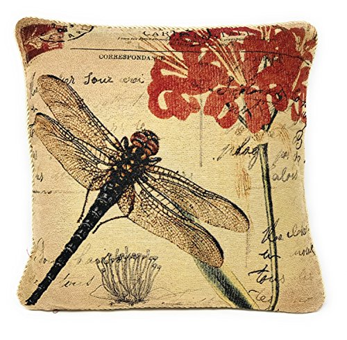 (DaDa Bedding CC-15041 Dragonfly Dream Woven Cushion Cover, 18-Inch)