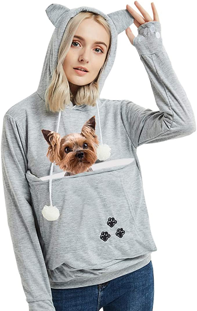 Amazon.com: Womens Pet Carrier Sweater Dog Cat Pouch Hoodies Plus Size Tops Light Grey 2XL: Clothing