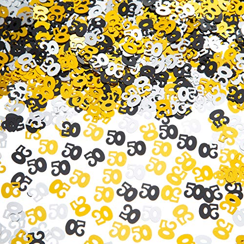 EMAAN 50th Wedding Anniversary and 50th Birthday Party Table Confetti Decorations, 50 Number Metallic Foil Confetti for 50th Anniversary Theme Party(Gold Silver Black) (Silver Anniversary Confetti)