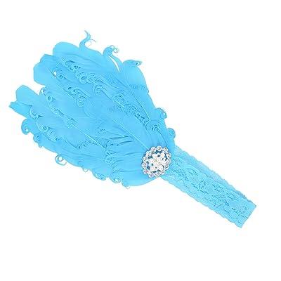 Baby Girl Cute Beaded Blue Feather Elastic Lace Headband