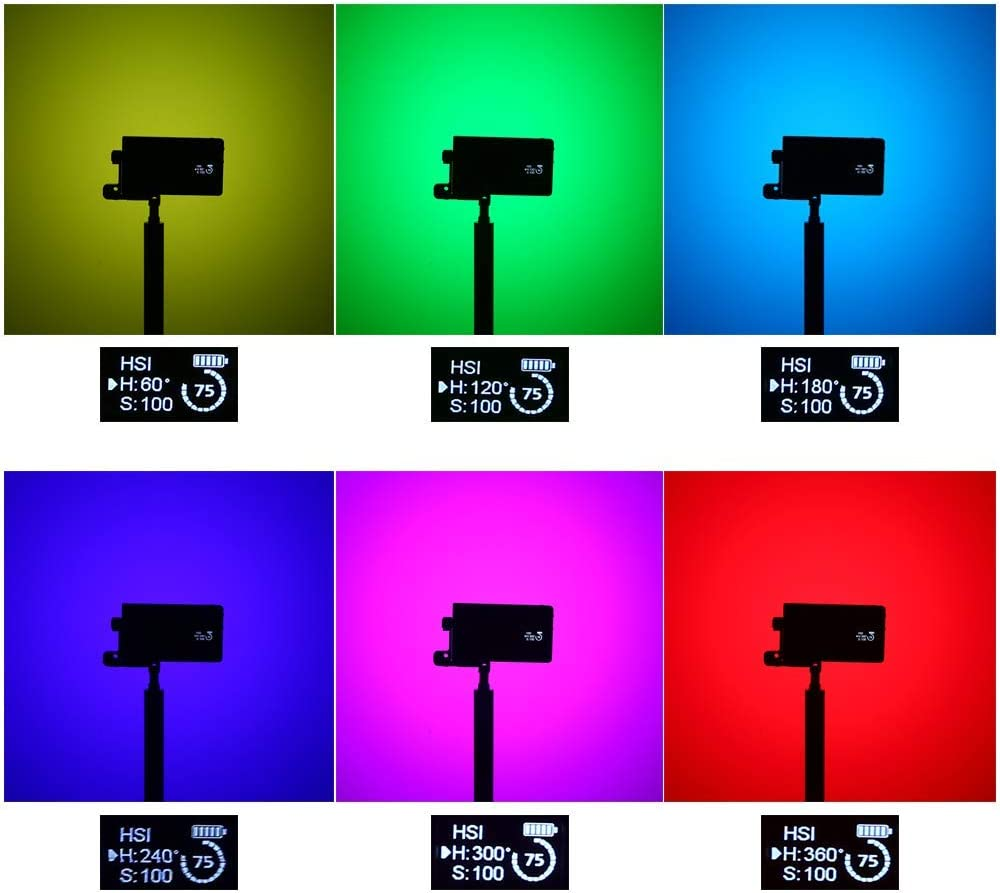 SixDu RGB LED Camera Light Full Color Video Light with 2500k-10000k Color Range//Rechargeable Pocket Size //9 Common Scenario Simulations with Premium Aluminum Alloy Shell