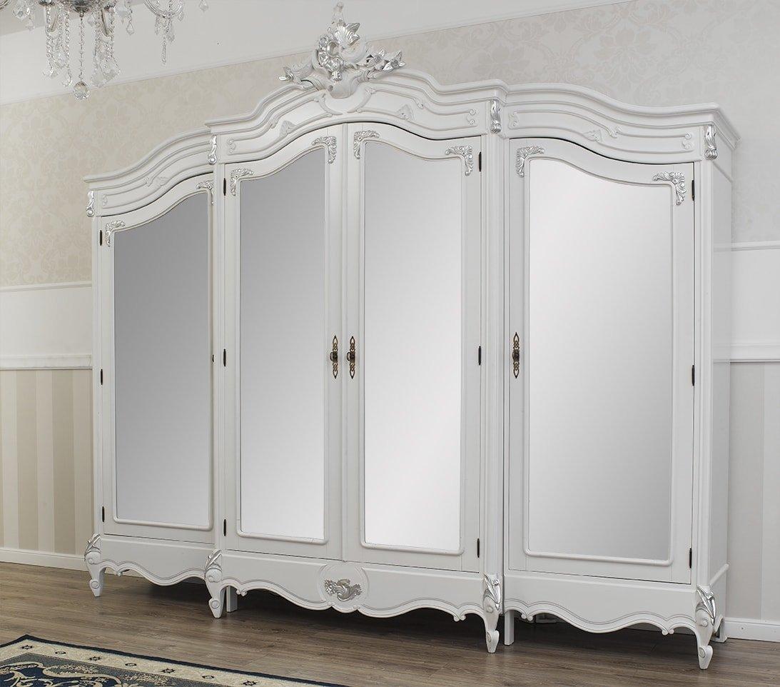 Armario Estilo Barroco Moderno Blanco lacado detalles hoja plata 4 puertas 4 Espejos
