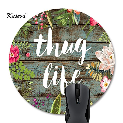 Knseva Cute Round Mouse Pad, Vintage Colorful Floral Wreath Retro Old Wood Art, Thug Life Funny Quotes Mousepad Mat