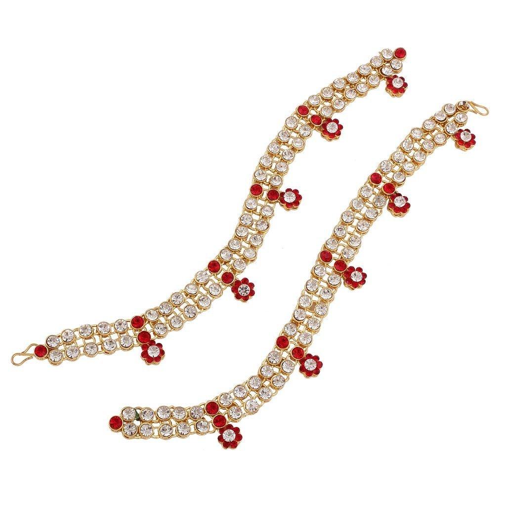 Je Bijoux Femme avec élégance fabriqué à la main Pierre Cheville clouté Rouge Isha Creation A004R