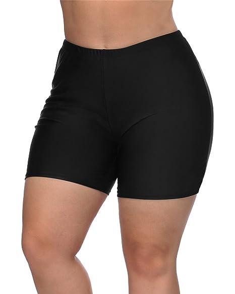 ba211b92e6821 maysoul Women Plus Size Swim Shorts Boyleg Board Shorts High Waist Tankini  Bottom at Amazon Women's Clothing store: