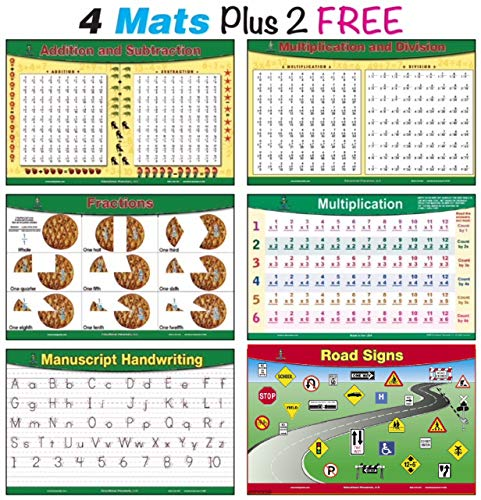 brainymats Educational Kids Placemats (Math) Includes 4 mats Plus 2 Free. This Bundle Includes Addition and Subtraction, Multiplication and Division, Fractions, Multiplication Practice Plus 2 Free