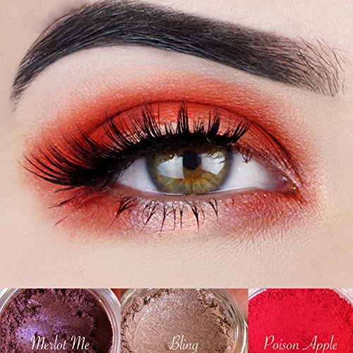 """Red Eyeshadow Palette   All Natural Mineral Makeup   Vegan, Cruelty Free Cosmetics   Get this Look Trio """"HAVANA NIGHTS""""   Look Good, Feel Good Naturally with Addictive - How Kylie Style To Get Jenner"""