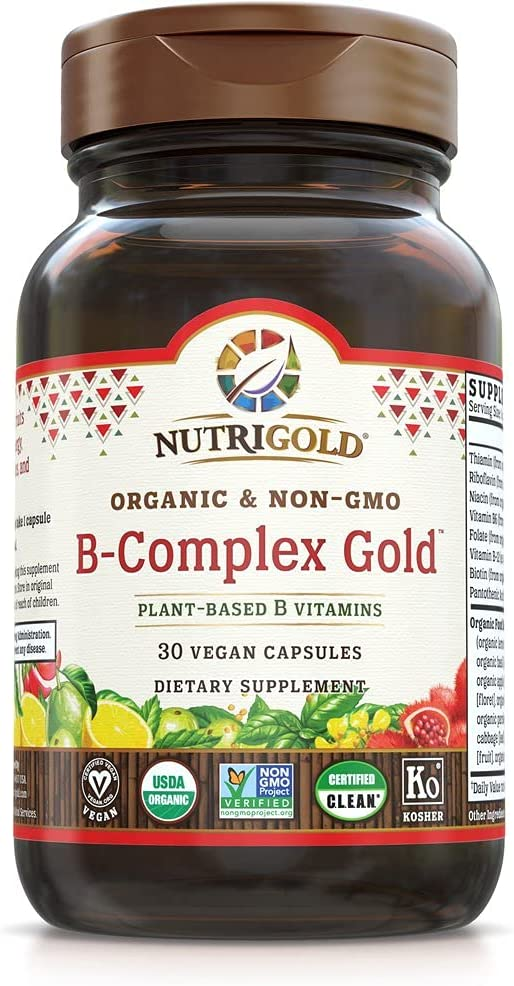Nutrigold B-Complex Gold - 30 Vegan Capsules   Plant-Based Whole-Food Vitamins, 30 Count