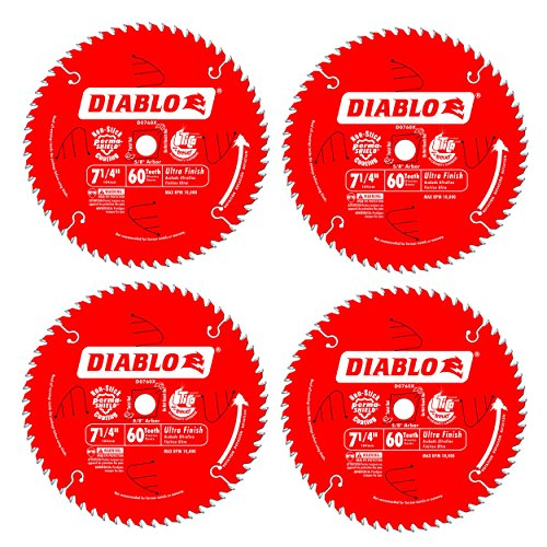 Freud D0760X Diablo Ultra Finish Saw Blade ATB 7-1/4-Inch by 60t 5/8-Inch Arbor (4 Pack) Pine Veneer Blades