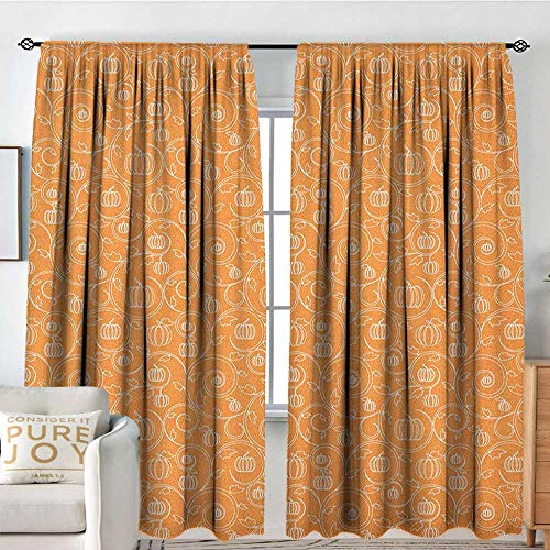 (Window Curtains Harvest,Pattern with Pumpkin Leaves and Swirls on Orange Backdrop Halloween Inspired, Orange White,for Room Darkening Panels for Living Room, Bedroom 54