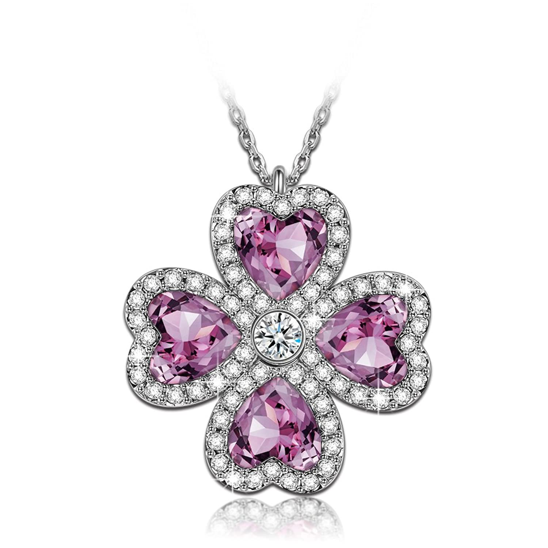 J NINA Lucky Reunión Collar Mujeres Huecas Del Corazón fabricados con cristales