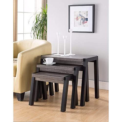 Benzara Showcasing Modern End Table Set of 3 , Gray Black
