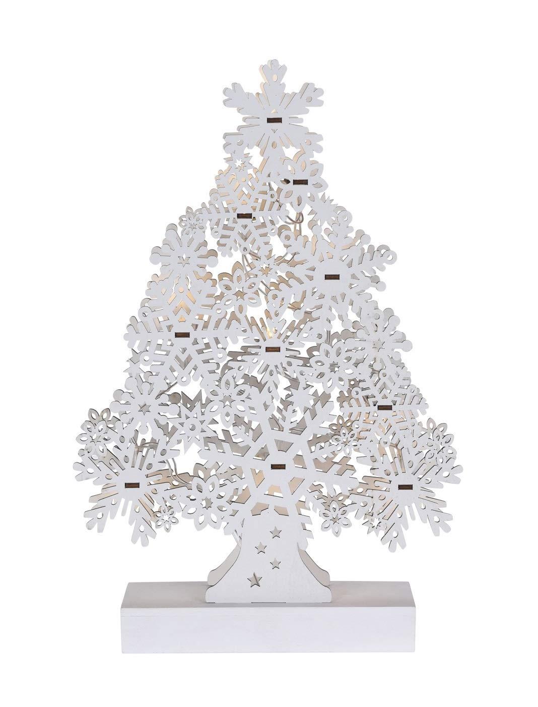 Tannenbaum Weiss Led.Meinposten Tannenbaum Weiß Holz Led Warmweiß H 33 Cm Weihnachtsbaum