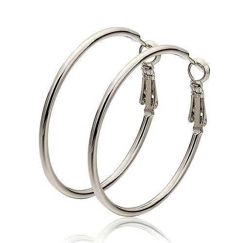 e4de81ee9 Adisaer Hoop Earrings for Women Gold Plated Big Round Earrings for Bridal  Wedding Earring Hoop White