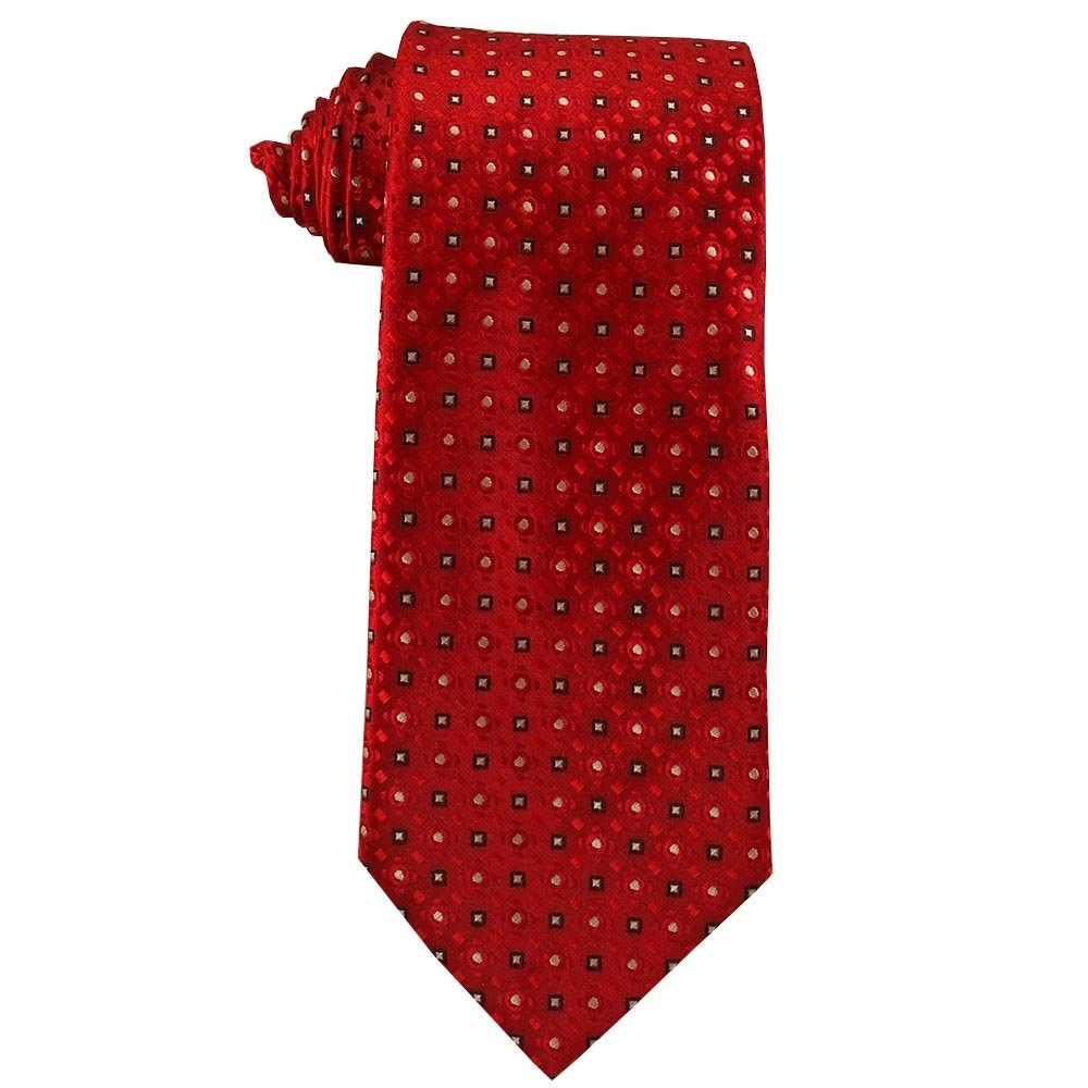 Youth Tie for children ages 8-14 years old Cherry Apple Red with White Squares Tie Youth 379