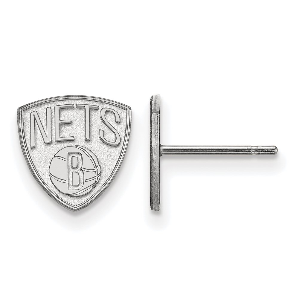 NBA Brooklyn Nets X-Small Post Earrings in 10K White Gold