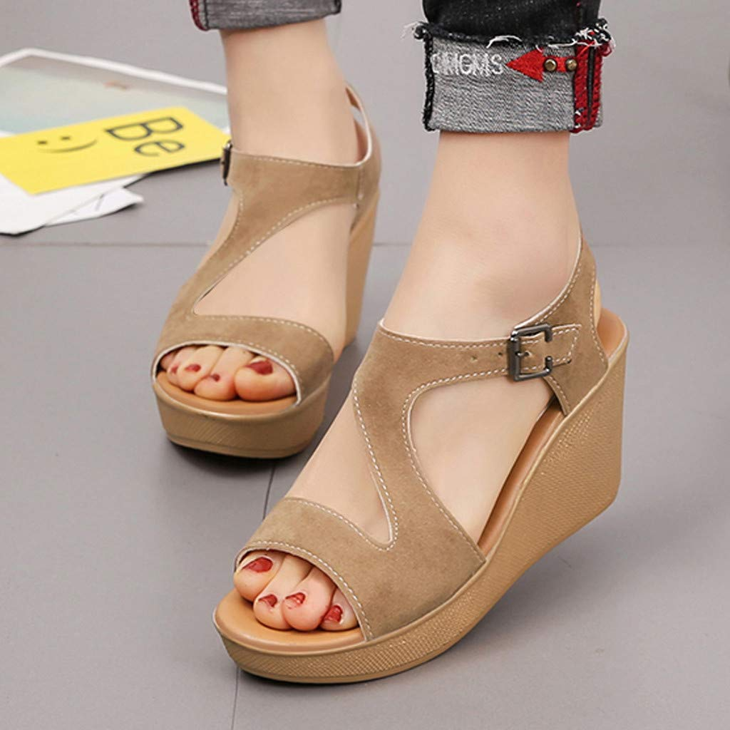 654fd63a6e0d Amazon.com: Memela Clearance sale Women's Sandals Wedges Heel Shoes Peep  Toe Belt Buckle Blocking Hook-Loop Sandals Summer Shoes: Clothing