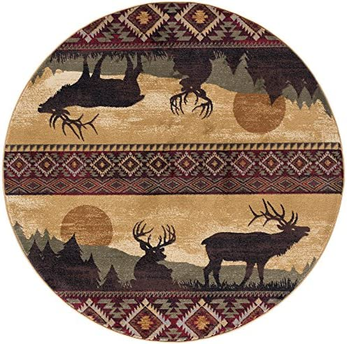 Tayse Misty Elk Red 8 Foot Round Area Rug Cabin for Living, Bedroom, or Dining Room – Lodge, Novelty