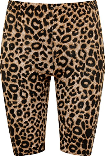New Brown Leopard - WearAll Women's Multi Print High Waist Elasticated Stretch Cycle Shorts New - Brown Leopard - US 4-6 (UK 8-10)