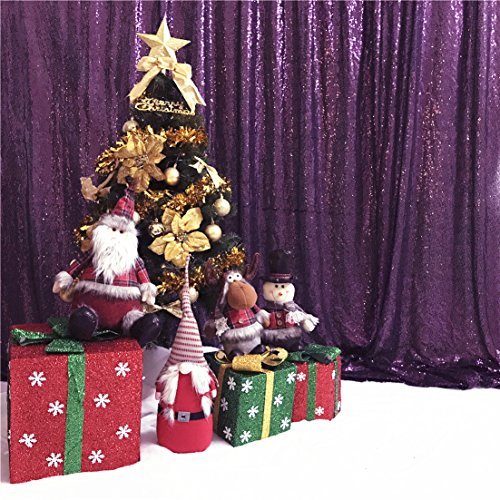 TRLYC 2FTx8FT Sequin Photo Backdrop Party Photography Background Wedding Photo Booth Purple
