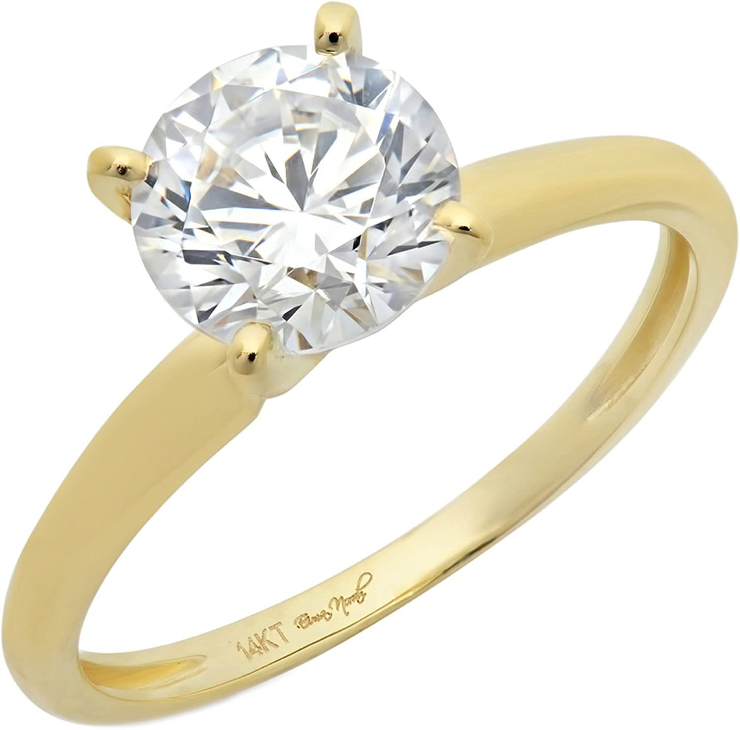 Clara Pucci 2.0 CT Brilliant Round Cut Simulated Diamond CZ Designer 4-Prong Solitaire Anniversary Promise Bridal Wedding Ring Solid 14k Yellow Gold
