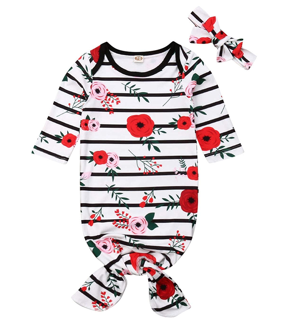 Newborn Baby Girl Floral Nightgowns with Headband Sleeper Gown Take Home Outfit